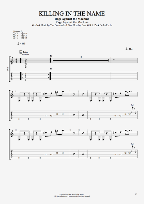 Killing in the Name - Rage Against the Machine tablature