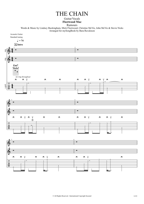 The Chain - Fleetwood Mac tablature
