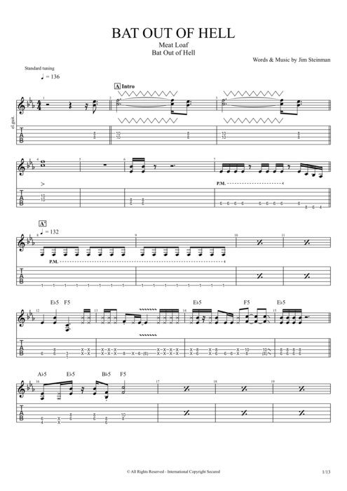 Bat Out of Hell - Meat Loaf tablature