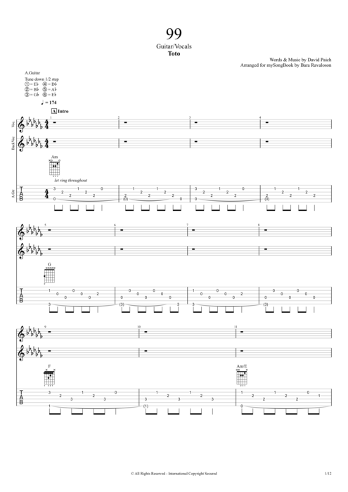 99 - Toto tablature