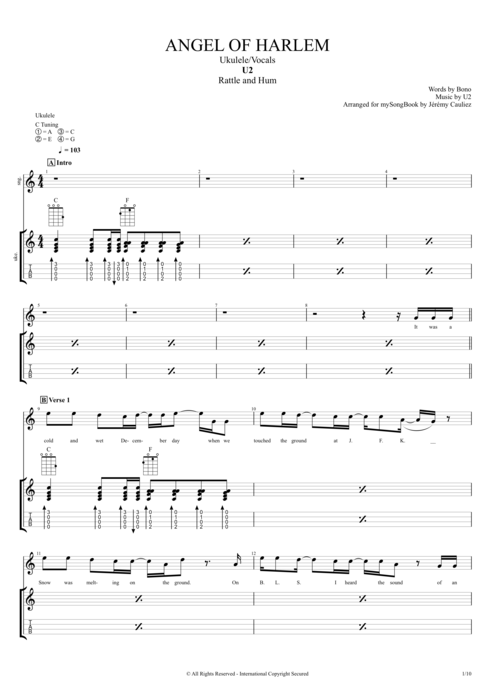 Angel of Harlem - U2 tablature