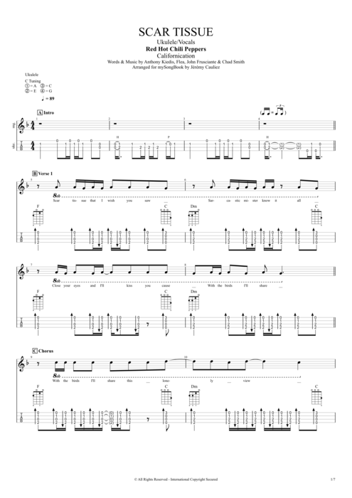 Scar Tissue - Red Hot Chili Peppers tablature