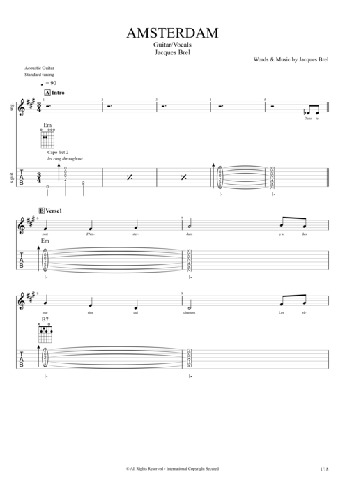 Amsterdam - Jacques Brel tablature