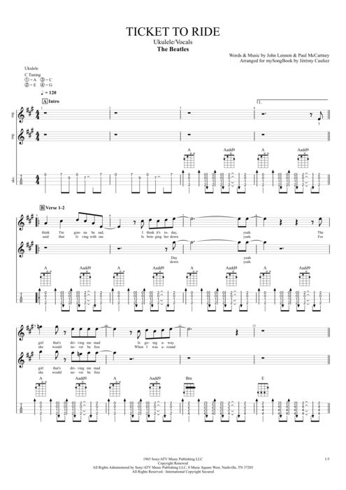 Ticket to Ride - The Beatles tablature