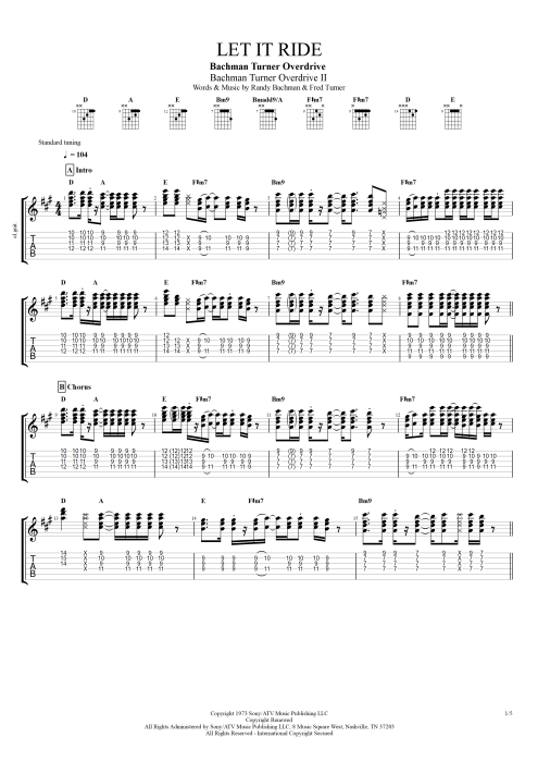 Let It Ride - Bachman Turner Overdrive tablature