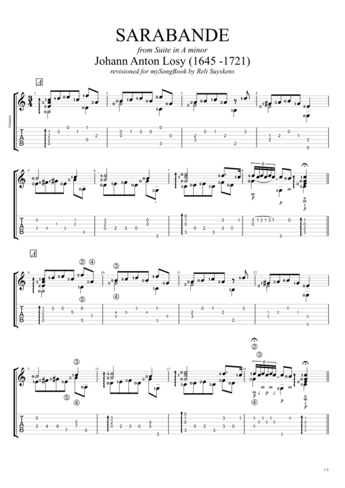 Suite in A minor Sarabande - Johann Anton Losy tablature