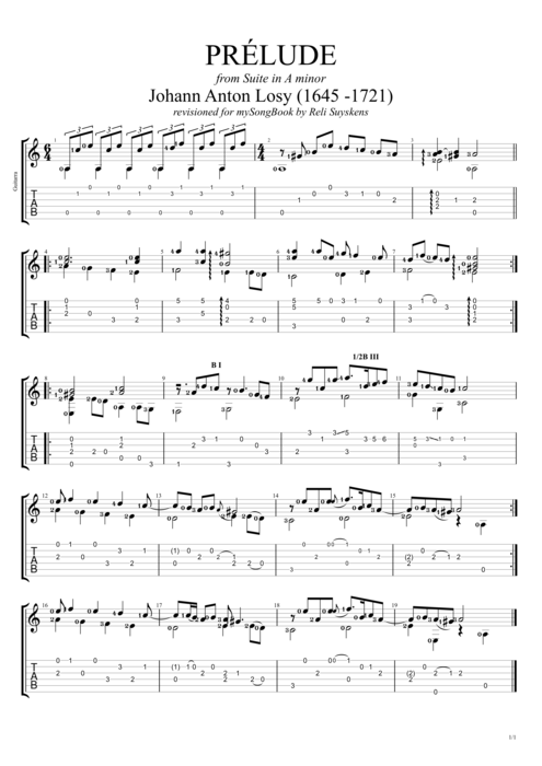 Suite in A minor Prelude - Johann Anton Losy tablature