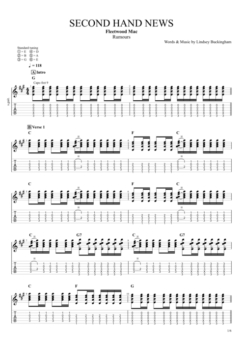 Second Hand News - Fleetwood Mac tablature