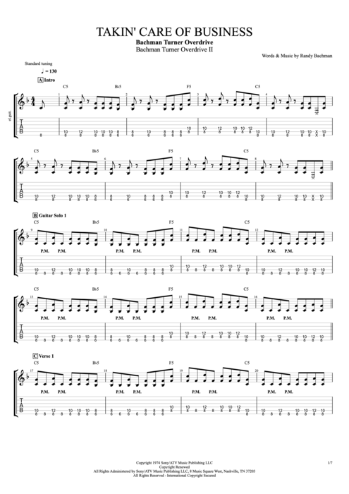 Takin' Care of Business - Bachman Turner Overdrive tablature