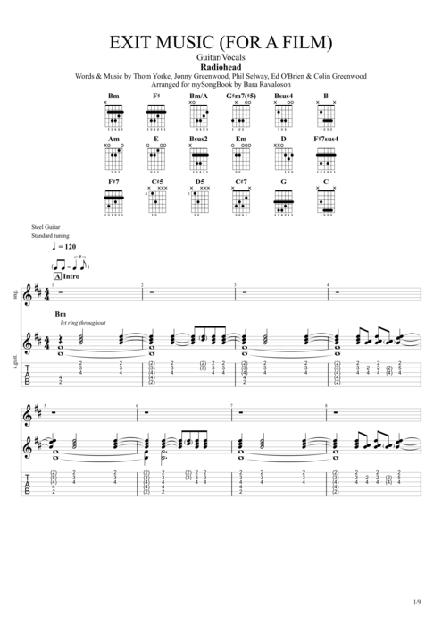 Exit Music (For a Film) - Radiohead tablature