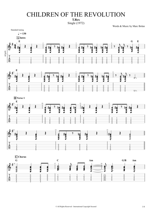 Children of the Revolution - T.Rex tablature