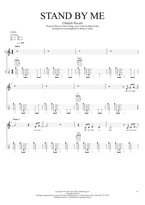 Stand by Me - Ben E. King tablature