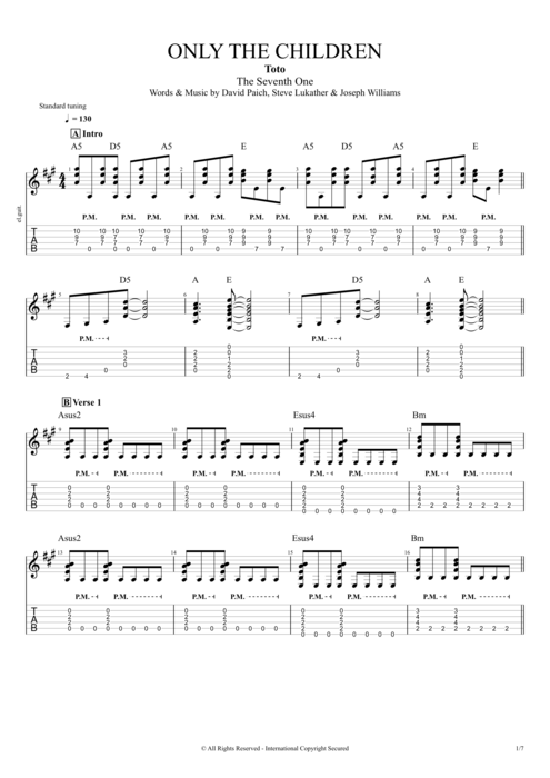 Only the Children - Toto tablature