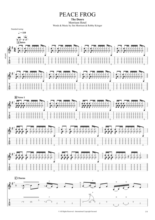 Peace Frog - The Doors tablature