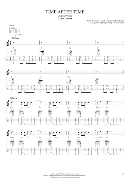 Time After Time - Cyndi Lauper tablature
