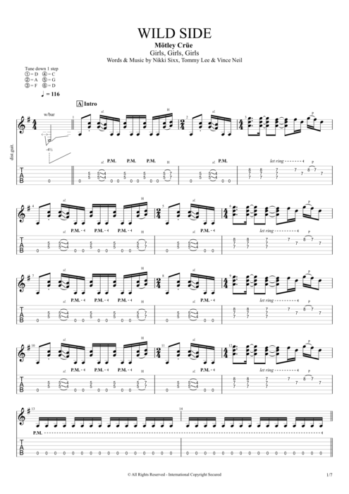 Wild Side - Mötley Crüe tablature