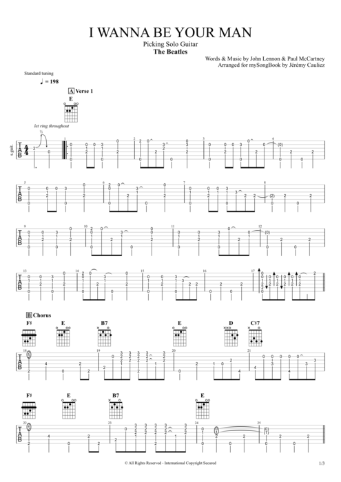 I Wanna Be Your Man - The Beatles tablature