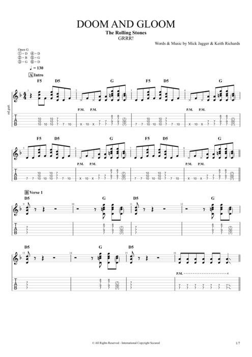 Doom and Gloom - The Rolling Stones tablature