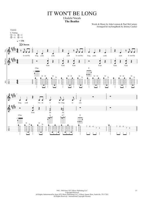 It Won't Be Long - The Beatles tablature