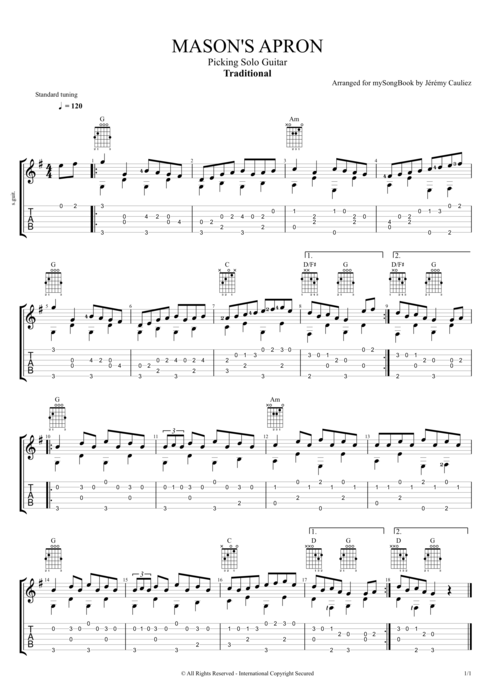 Mason's Apron - Traditional tablature