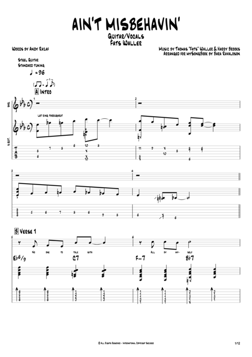 Ain't Misbehavin' - Fats Waller tablature