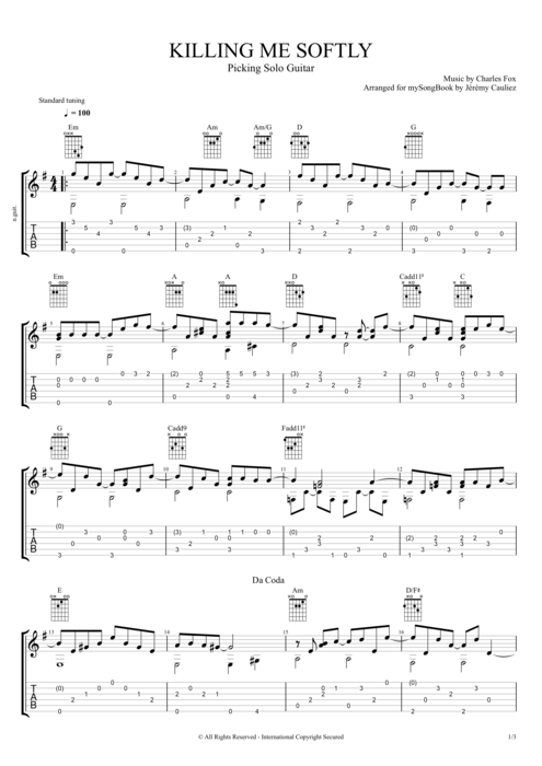 Killing me Softly - Roberta Flack tablature