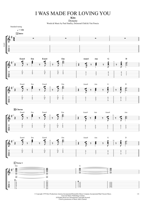 I Was Made for Lovin' You - Kiss tablature