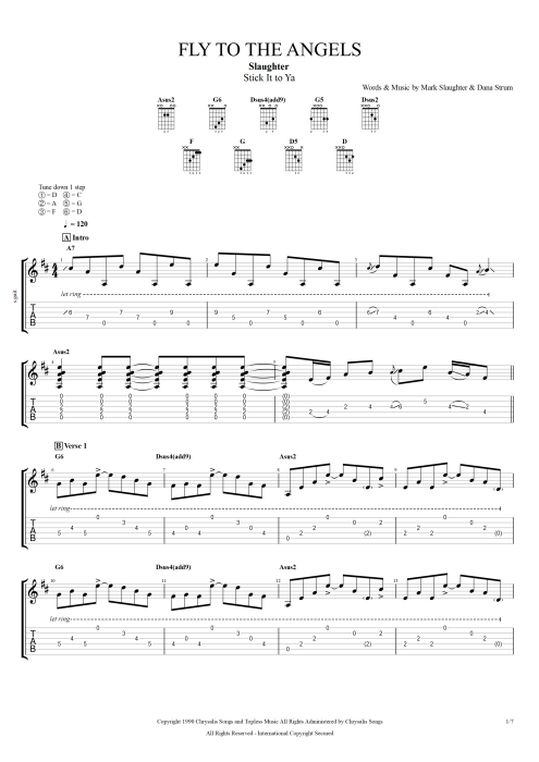 Fly to the Angels - Slaughter tablature