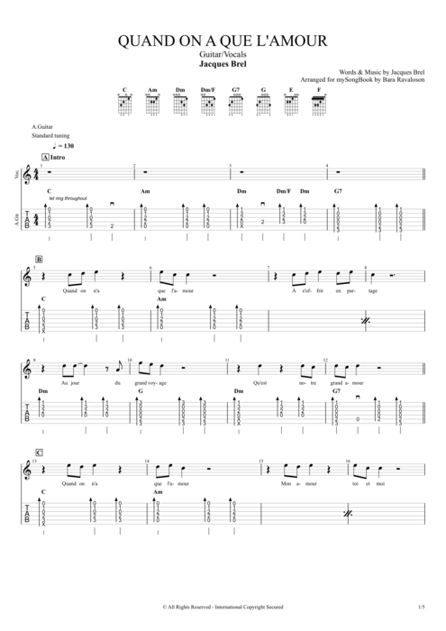 Quand on n'a que l'amour - Jacques Brel tablature