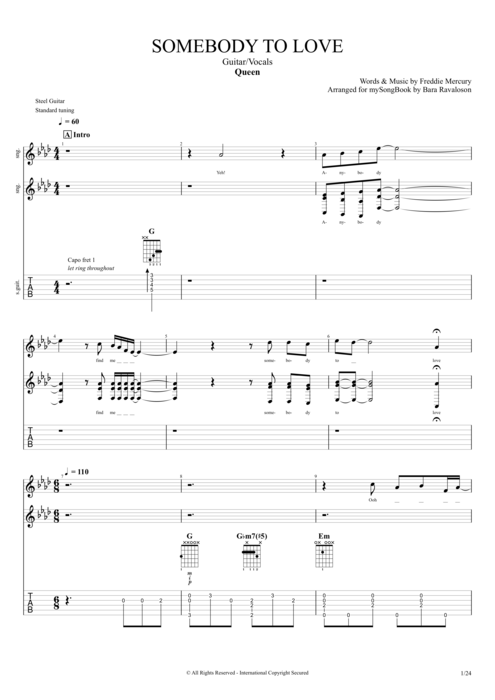 Somebody to Love - Queen tablature