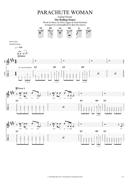 Parachute Woman - The Rolling Stones tablature