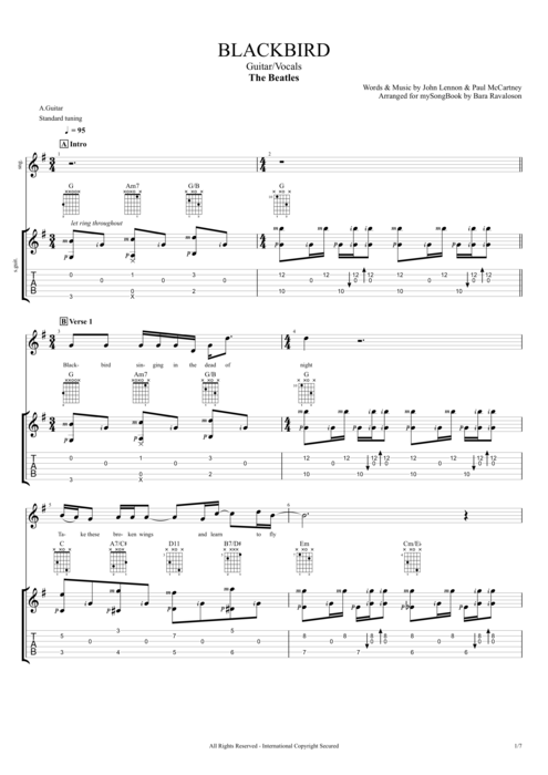 Blackbird - The Beatles tablature