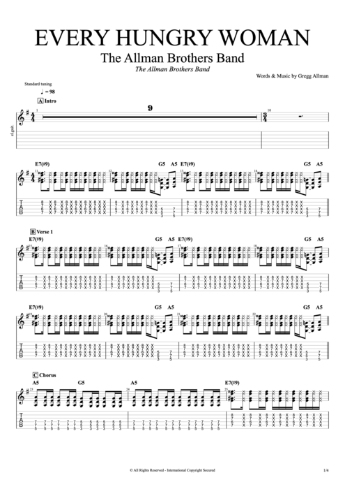 Every Hungry Woman - The Allman Brothers Band tablature