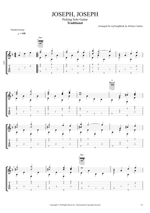 Joseph, Joseph - Traditional tablature