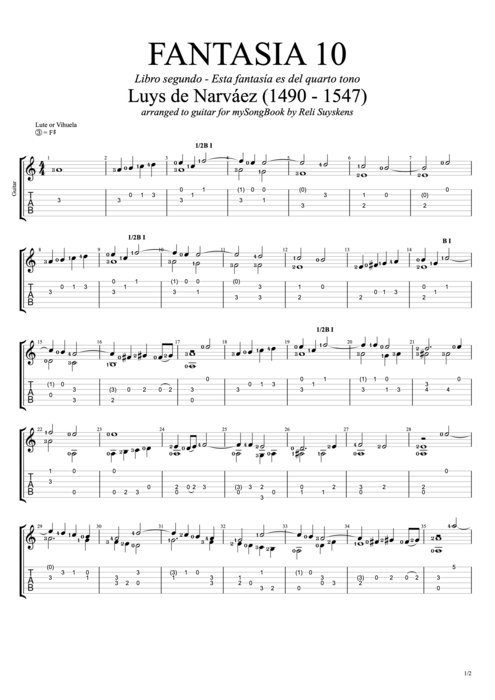 Fantasia 10 - Luys de Narváez tablature