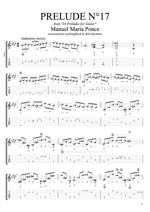 Prelude N°17 - Manuel Ponce tablature