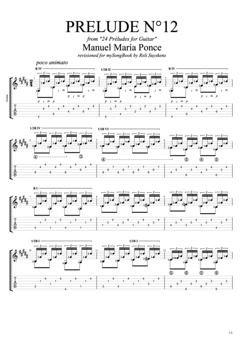 Prelude N°12 - Manuel Ponce tablature