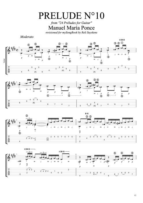 Prelude N°10 - Manuel Ponce tablature