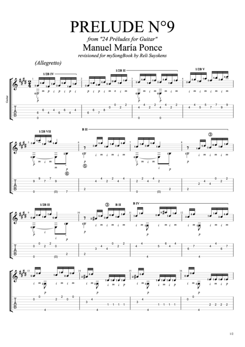 Prelude N°9 - Manuel Ponce tablature