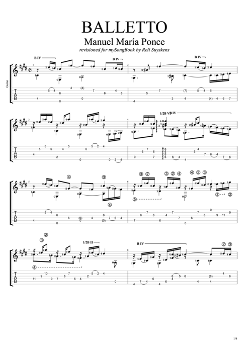 Balletto - Manuel Ponce tablature