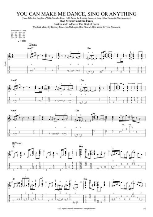 You Can Make Me Dance, Sing or Anything - Faces tablature