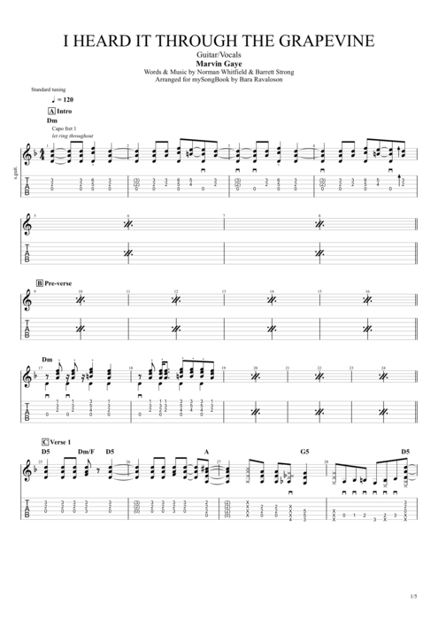 I Heard It Through the Grapevine - Marvin Gaye tablature