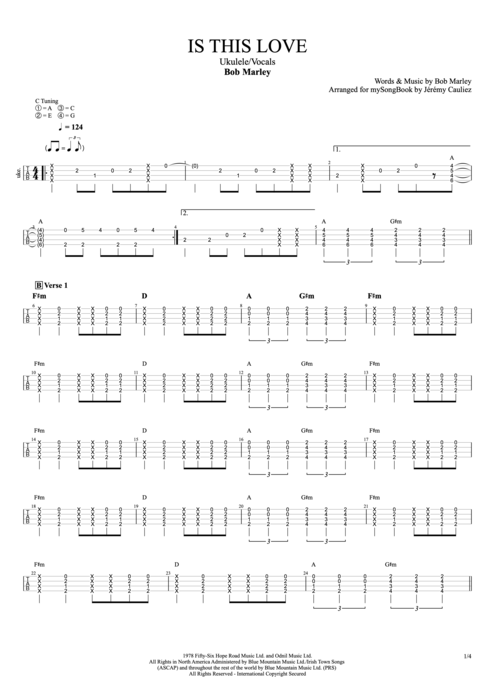 Is This Love - Bob Marley tablature