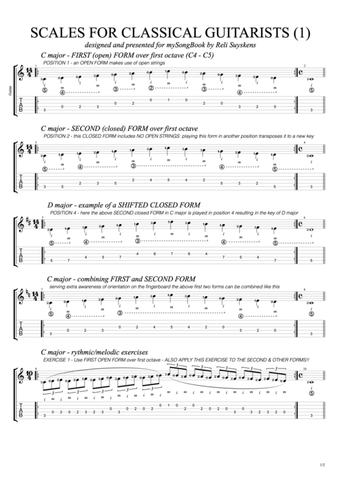 Scales for Classical Guitarists N°1 - Reli Suyskens tablature