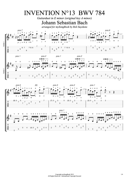 Invention N°13 BWV 784 in E Minor - Johann Sebastian Bach tablature