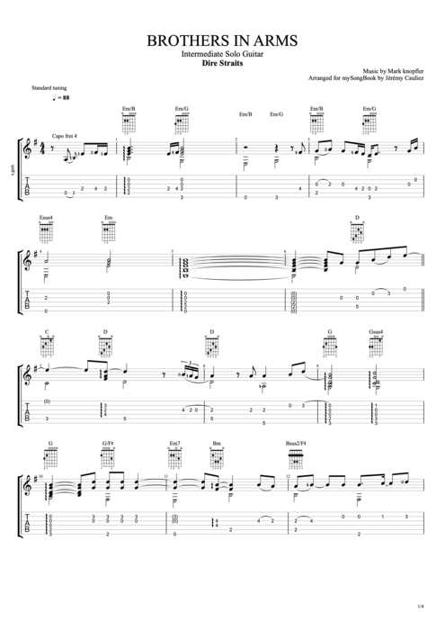 Brothers in Arms - Dire Straits tablature