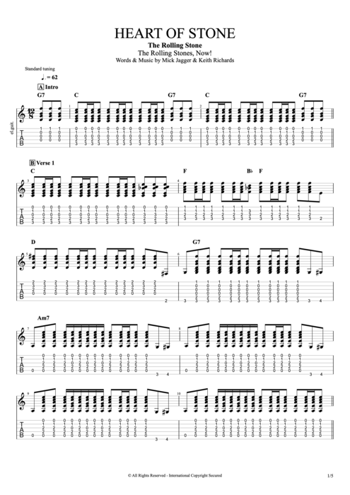 Heart of Stone - The Rolling Stones tablature