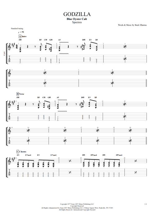 Godzilla - Blue Oyster Cult tablature