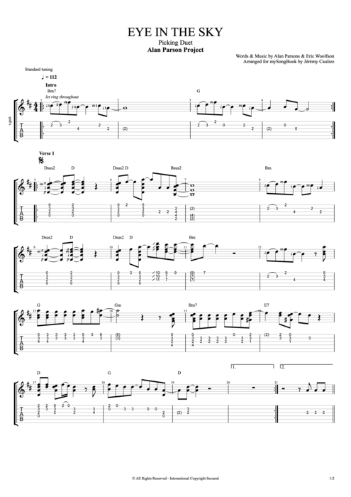 Eye in the Sky - The Alan Parsons Project tablature