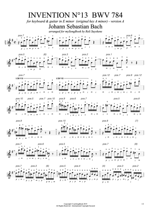Invention N°13 BWV 784 in E Minor (Version A) - Johann Sebastian Bach tablature